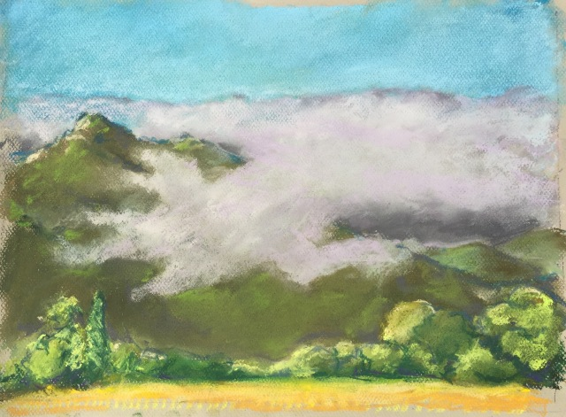 "Marine Layer Covered Cabrillo Peak Pastel 12""x16"""