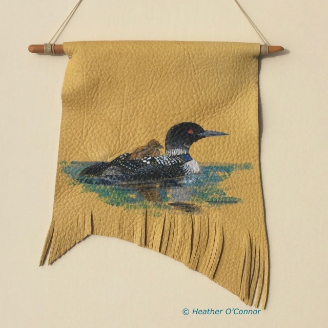 Common Loon with chick on elk hide