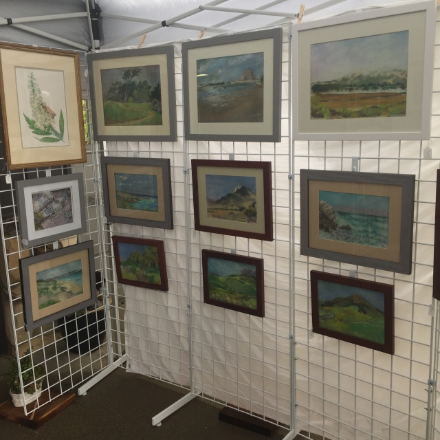 Pastels and watercolor on display
